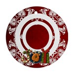 art nouveau joy red round single side ornament - Ornament (Round)