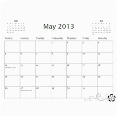 2013 Calendar 12 Mos Black & White By Angel   Wall Calendar 11  X 8 5  (12 Months)   5q5nh0iw012l   Www Artscow Com May 2013
