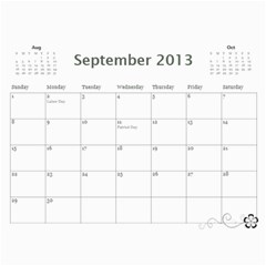 2013 Calendar 12 Mos Black & White By Angel   Wall Calendar 11  X 8 5  (12 Months)   5q5nh0iw012l   Www Artscow Com Sep 2013