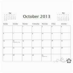 2013 Calendar 12 Mos Black & White By Angel   Wall Calendar 11  X 8 5  (12 Months)   5q5nh0iw012l   Www Artscow Com Oct 2013