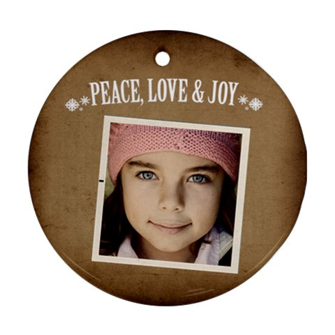Christmas Peace Love Joy Ornament  By Jorge   Ornament (round)   Qbjg859io2qn   Www Artscow Com Front