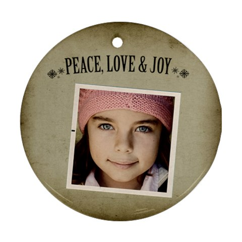 Christmas Peace Love Joy Ornament Clear By Jorge   Ornament (round)   Uooblsqvr6m3   Www Artscow Com Front