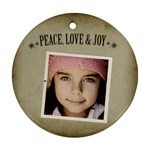 Christmas Peace Love Joy Ornament Clear - Ornament (Round)