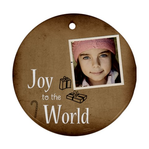 Christmas Joy To World Ornament By Jorge   Ornament (round)   Tdhao152lgb4   Www Artscow Com Front