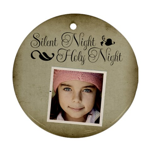 Christmas Silent Holy Night Ornament Clear By Jorge   Ornament (round)   Hxu9kaha7887   Www Artscow Com Front