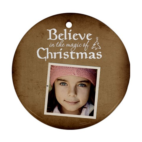Christmas Believe Magic Christmas Ornament  By Jorge   Ornament (round)   5r5l3ni8gdej   Www Artscow Com Front