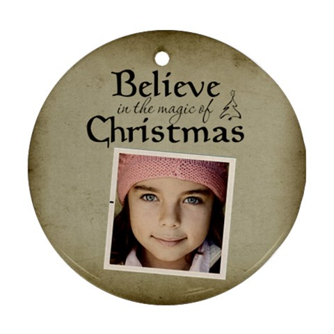 Christmas Believe Magic Christmas Ornament Clear By Jorge   Ornament (round)   Gbeyl49o1yun   Www Artscow Com Front
