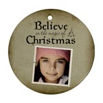 Christmas Believe Magic Christmas Ornament Clear - Ornament (Round)