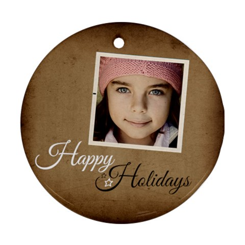 Christmas Happy Holidays Ornament  By Jorge   Ornament (round)   Pg5y59p3h7rt   Www Artscow Com Front