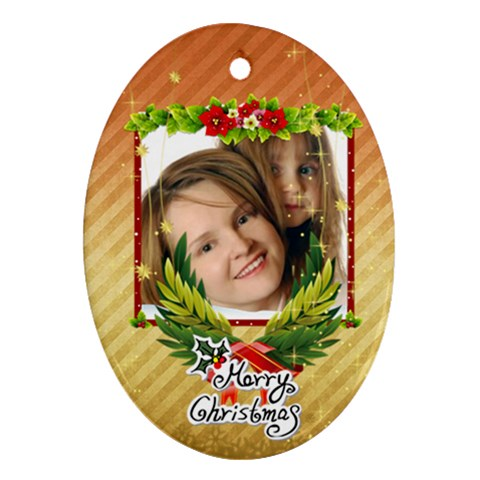 Xmas Kids By Wood Johnson   Ornament (oval)   2m8mb4hxjfhx   Www Artscow Com Front