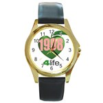 AKA 1908 4 life3 Round Gold Metal Watch