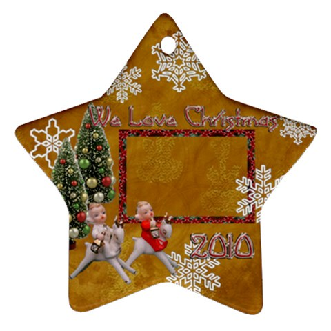 angels on reindeer 2010 ornament 55 by Ellan Front