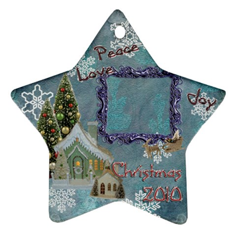 Village Blue2 Peace Love Joy 2010 Ornament 71 By Ellan   Ornament (star)   9mu8w1xcq2cg   Www Artscow Com Front