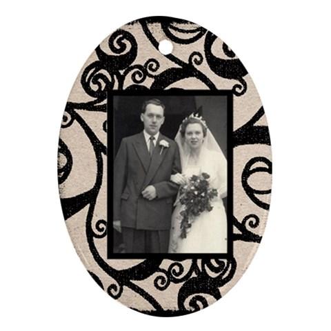 Fantasia Beige & Black Oval Ornament By Catvinnat   Ornament (oval)   Riiiu9wdzt4q   Www Artscow Com Front