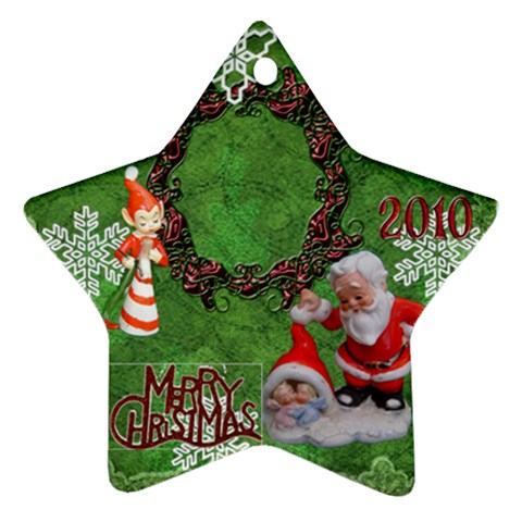 Elf Santa Babies Merry Christmas 2010 Ornament  139 By Ellan   Ornament (star)   4qjj5j6xvrar   Www Artscow Com Front