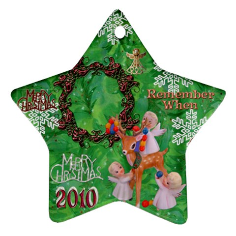 Angels Reindeer Remember When 2010 Ornament 153 By Ellan   Ornament (star)   9mm8a2p5i94z   Www Artscow Com Front