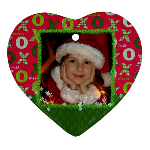 Hug & Kisses Ornament By Mikki   Ornament (heart)   Gq4l6f0vvxc1   Www Artscow Com Front