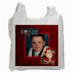 Happy Holidays Red 2 Sided Recycle Bag By Catvinnat   Recycle Bag (two Side)   Dc1bynvpp9tm   Www Artscow Com Front