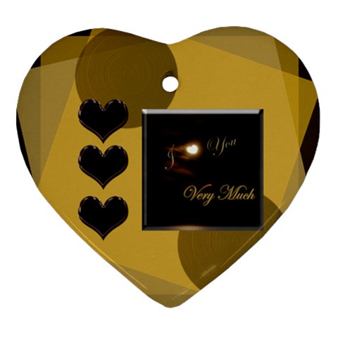 I Heart You Gold1 Ornament By Ellan   Ornament (heart)   Dcocnlyoh9qn   Www Artscow Com Front