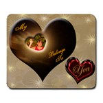 I Heart belongs to you heart Large Mousepad