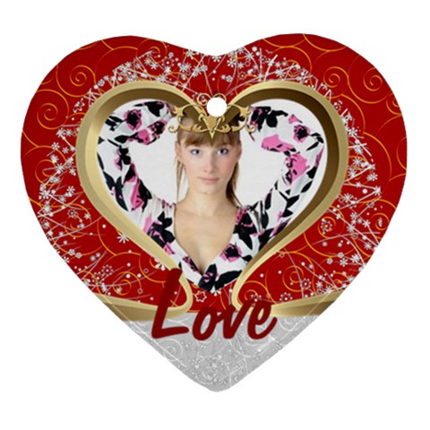 Love By Wood Johnson   Ornament (heart)   W9ct25pfnpie   Www Artscow Com Front