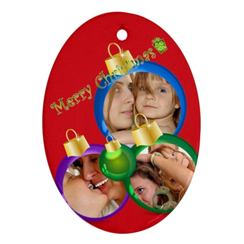 Xmas Kids By Wood Johnson   Ornament (oval)   Gssu04bsak4u   Www Artscow Com Front