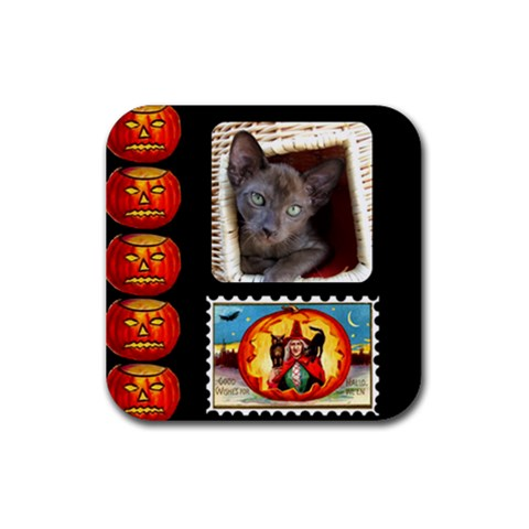 Halloween Coaster2 By Joan T   Rubber Square Coaster (4 Pack)   880ogx9ms3lq   Www Artscow Com Front