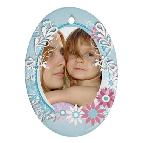 Flower Kids By Wood Johnson   Ornament (oval)   Ykeir5989kt2   Www Artscow Com Front