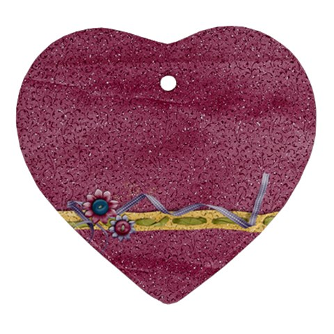 Glitter & Flowers Ornament By Mikki   Ornament (heart)   1qhpbpmagwad   Www Artscow Com Front