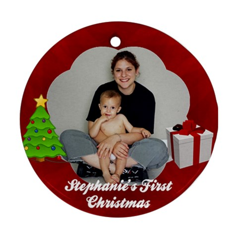 Baby s First Christmas Or Other Customizable Ornament By Angela   Ornament (round)   M8wdzcn18jm1   Www Artscow Com Front