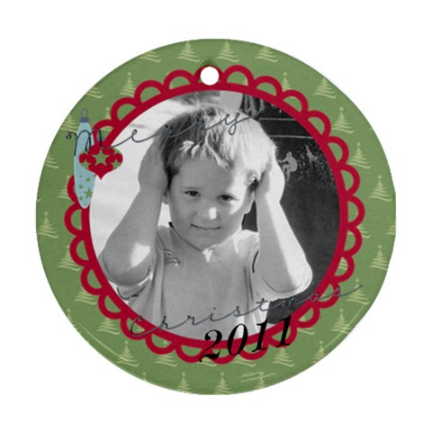 Christmas Ornament 1 By Martha Meier   Ornament (round)   Xyb8y0s0rr5h   Www Artscow Com Front