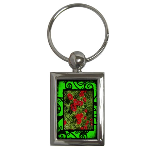 Fantasia Classic Green Poppies Frame Keyring By Catvinnat   Key Chain (rectangle)   86bt75j8nlz7   Www Artscow Com Front