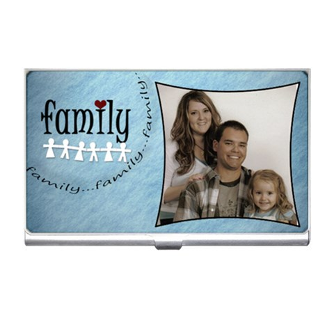 Family Business Card Holder Blue By Amanda Bunn   Business Card Holder   7o9upt0cu2xv   Www Artscow Com Front
