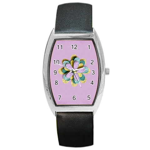 Barrel Style Metal Watch   Template Flower1 By Jennyl   Barrel Style Metal Watch   O788ud3c0n7a   Www Artscow Com Front