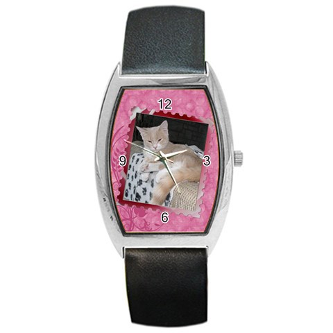 Pretty In Pink Watch By Lil    Barrel Style Metal Watch   Hwmy13plebna   Www Artscow Com Front