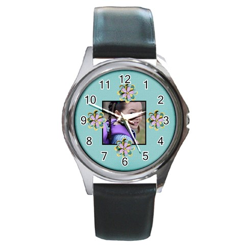 Round Metal Watch   Template  Flower2 By Jennyl   Round Metal Watch   9y1xkyf3x2q3   Www Artscow Com Front