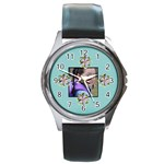 Round Metal Watch - template- flower2