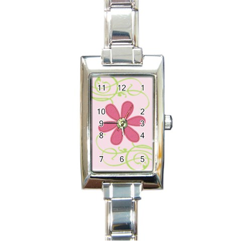 Rectangular Italian Charm Watch   Flower2 By Jennyl   Rectangle Italian Charm Watch   Iym8na2nmlon   Www Artscow Com Front