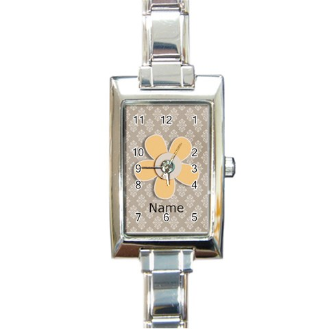 Rectangular Italian Charm Watch   Flower3 By Jennyl   Rectangle Italian Charm Watch   Wswr05knq5rm   Www Artscow Com Front