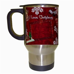 Old Fashioned Christmas Mug Santa Remember When Red By Ellan   Travel Mug (white)   B1hfe0zpctco   Www Artscow Com Left