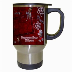Old Fashioned Christmas Mug Angels Remember When Red By Ellan   Travel Mug (white)   Y77au0l6lbvj   Www Artscow Com Right
