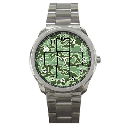 Green Camo Mini Frame Watch By Catvinnat   Sport Metal Watch   3fcd887gvj6i   Www Artscow Com Front