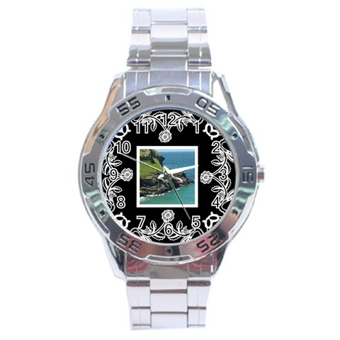 Stainless Analogue Art Nouveau Classic Black Face Watch By Catvinnat   Stainless Steel Analogue Watch   Gdp38jzecrbu   Www Artscow Com Front