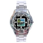 stainless analogue art nouveau classic black face watch - Stainless Steel Analogue Watch