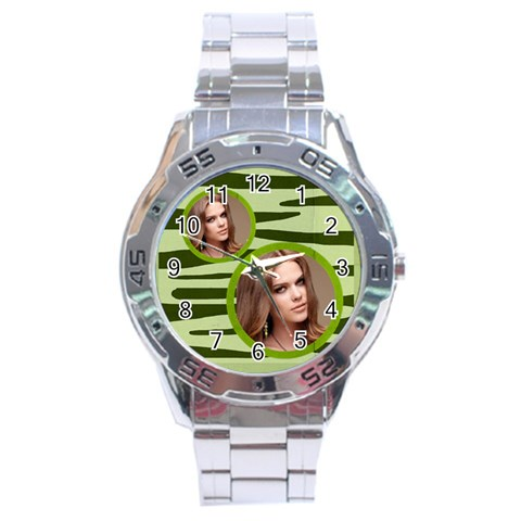 Stainless Analogue Green Twin Frame Camo Watch By Catvinnat   Stainless Steel Analogue Watch   972u7ej5z9f8   Www Artscow Com Front