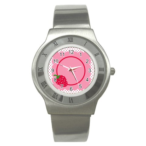 Strawberries Watch 01 By Carol   Stainless Steel Watch   Ejufhm909iyi   Www Artscow Com Front