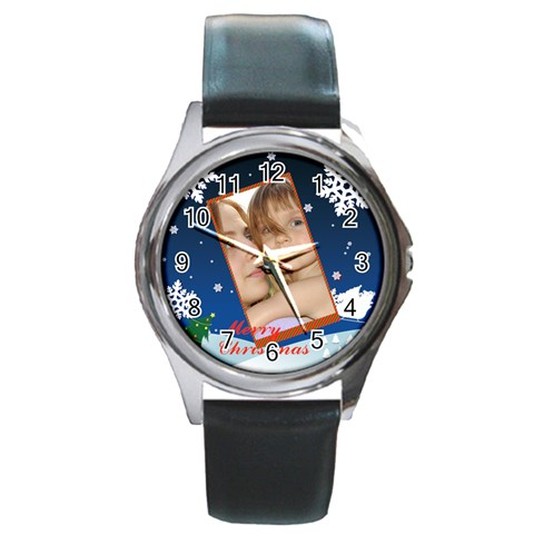Merry Christmas By Wood Johnson   Round Metal Watch   Ygzrq109ujfk   Www Artscow Com Front
