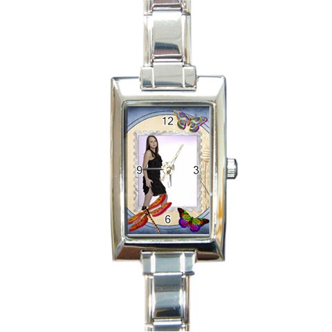 Butterfly Italian Charm Watch By Lil    Rectangle Italian Charm Watch   Yhvq9drne56y   Www Artscow Com Front