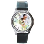 flower love - Round Metal Watch