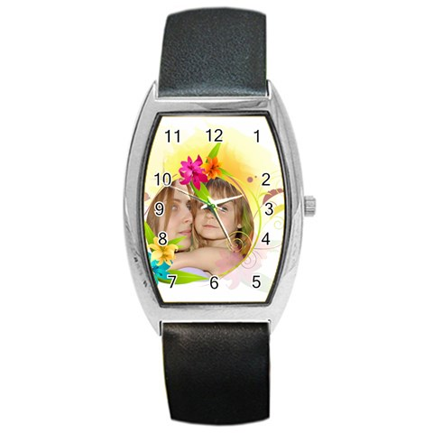 Flower Kids By Wood Johnson   Barrel Style Metal Watch   3gicme6tl84c   Www Artscow Com Front